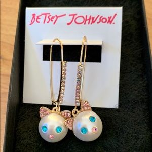 Betsey Johnson Kitty Earrings~ Brand New